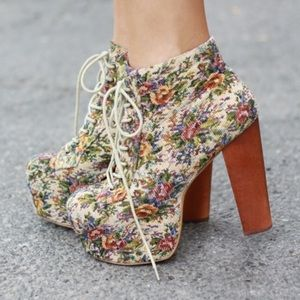 Jeffrey Campbell Lita Floral Lace Up Booties